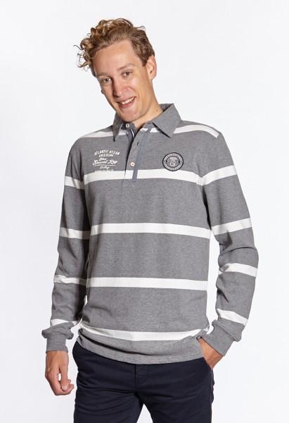 I LOVE TALL Langgrössen für Männer Rugby Poloshirt grau-weiss gestreift vorne